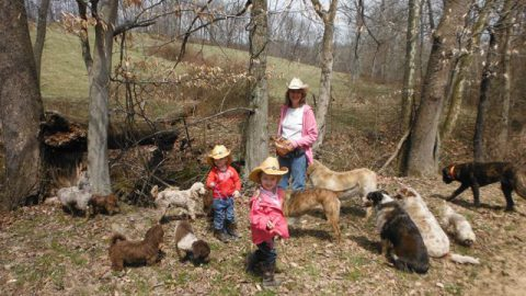 My Granddaughters on their First Dog Walk!